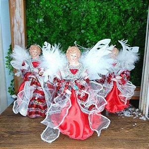 Trio de Anjos Roupa Vermelha com Lantejoulas para Pendurar 18cm