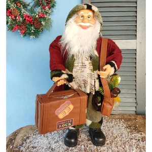Papai Noel Decorativo 60cm Viajante com Mala