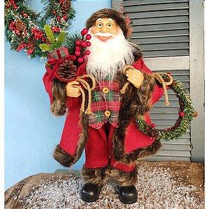 Papai Noel Decorativo 60cm com Guirlanda