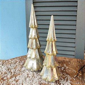 Jogo Mini Árvore de Natal Prata de Resina