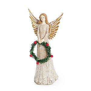 Anjo de Natal Decorativo com Guirlanda 25cm