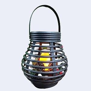 Lanterna Marroquina Natalina com Luz LED Preta 23,5cm