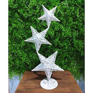 Decoração Natalina Estrela Aramada Branca 50cm