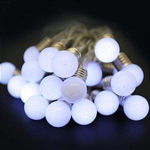 Pisca LED à Pilha Cordão Bola Branca 20 Lâmpadas 2m Luz Fixa