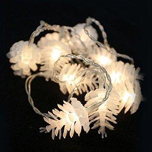 Pisca LED à Pilha Cordão Pinha 10 Lâmpadas 1,8m Luz Fixa