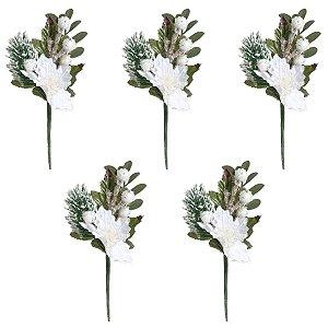 Flor de Natal Pick Branco 15cm 5 unidades