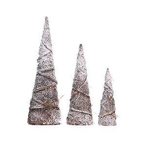 Árvore de Natal de Mesa Cone Galhos Secos Nevados Jogo c/3 unidades