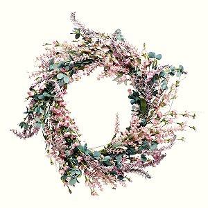 Guirlanda Decorativa Fondant com Eucalipto, Lavanda e Rosas 50cm