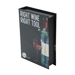 Kit para Vinho Caixa Livro 3 peças