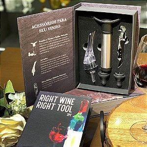 Kit para Vinho Caixa Livro 5 Peças