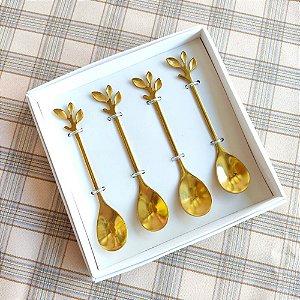 Jogo Colheres para Chá Folhas Dourada Jogo 4 Unidades