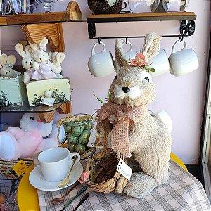 Coelha Decorativa com Cesto Laço Rosa 35cm Tartufo