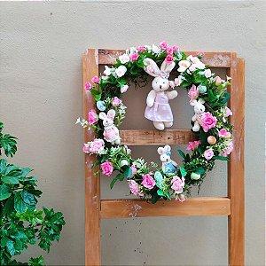 Guirlanda de Páscoa Rústica com Flores 40cm