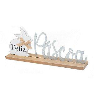 Placa Decorativa Feliz Páscoa Madeira Coelho 35,5cm