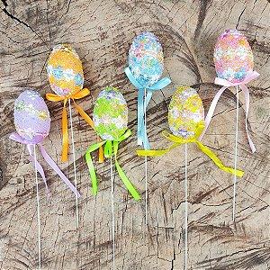 Ovos de Páscoa Decorativos no Palito Coloridos 6 unidades