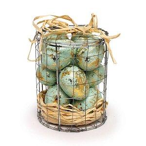 Caixa de Metal com Ovos de Páscoa Decorativos Cromus 12 Ovos