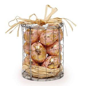 Caixa de Metal com Ovos de Páscoa Decorativos Rose Cromus 12 Ovos