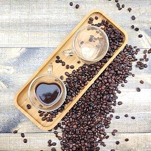 Xícara para Café Vidro Duplo Coração 80ml Jogo c/2 unidades