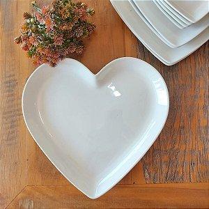Prato de Coração Branco M 21,5 cm