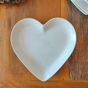 Prato de Coração Branco G 27,8 cm