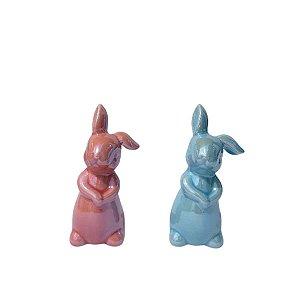 Coelho Decorativo Louça 10cm Azul e Rosa