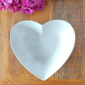Bowl Coração Cerâmica Branco G 26cm