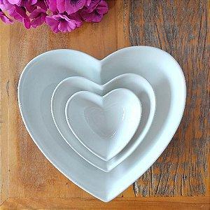 Kit Bowls Cerâmica Coração Branco 3 Peças