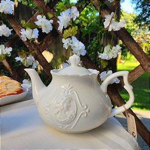 Bule para Chá Porcelana Branco Queen 1 Litro