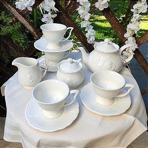 Conjunto para Chá Porcelana Branca Super White Queen 7 peças