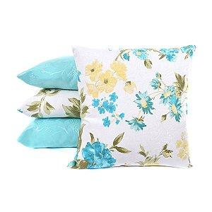 Kit 4 Almofadas Azul Lisas e Estampadas Decorativas P/ Sofá