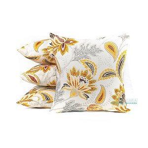 Jogo 4 Almofadas Amarelas Florais Decorativas 45x45 Para Sala