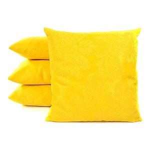 Almofadas Amarelas Lisas Decorativas Para Sofá 4 Peças