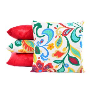 Almofadas Para Sofá Vermelhas Lisas e Estampadas 4 Peças
