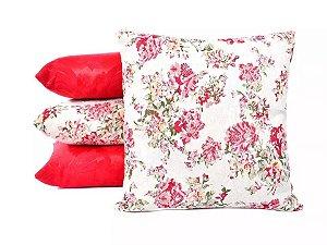 Conjunto de Almofadas Vermelhas Lisas e Estampadas Florais
