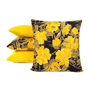 Jogo De Almofadas Amarela Kit Com 4 Unidades Com Enchimento