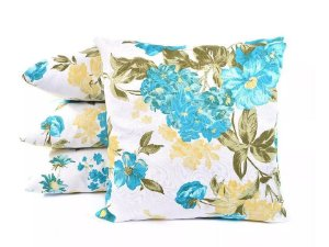 Almofadas Azul Floral Decorativas Para Sofá da Sala