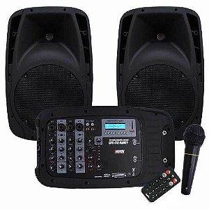 Kit Novik Evo 410 2 Caixas De Som 150w  Mesa 4 Canais  Microfone 2 Cabos Controle  Bivolt