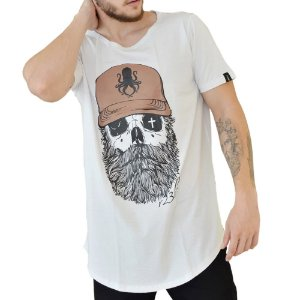 CAMISETA R23BR LONG  OLD SKULL BRANCA