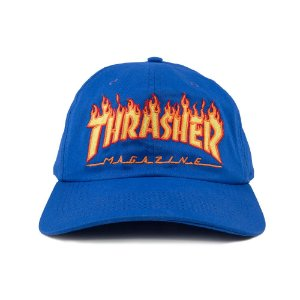 BONÉ THRASHER MAGAZINE FLAME LOGO DAD HAT AZUL