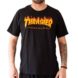 CAMISETA THRASHER FLAME LOGO BLACK