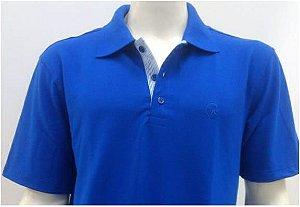 Polo Masculina Azul Royal Detalhe Listra Azul e Branco CK Cekock