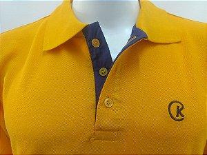 Polo Masculina Amarelo Ouro Detalhe Azul Marinho CK Cekock