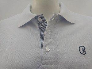 Polo Masculina Branca Detalhe Listra Azul e Branco CK Cekock