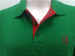 Polo Masculina Verde Brasil Detalhe Vermelho CK Cekock