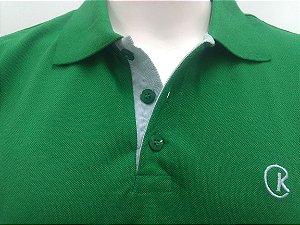 Polo Masculina Verde Detalhe Listra Verde e Branco CK Cekock