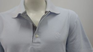 Polo Masculina Branca Detalhe Listra Preta e Branco CK Cekock