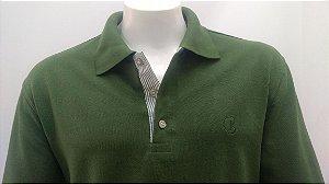 Polo Masculina Verde Ardosia Detalhe Listra Verde e Branco CK Cekock