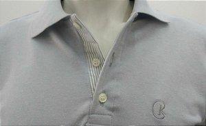 Polo Masculina Prata Detalhe Listra Cinza e Branco CK Cekock