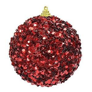03 Bolas decoradas vermelhas 10 cm