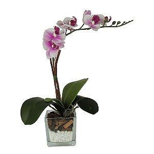 Orquídea Rosa no Vaso - 34cm